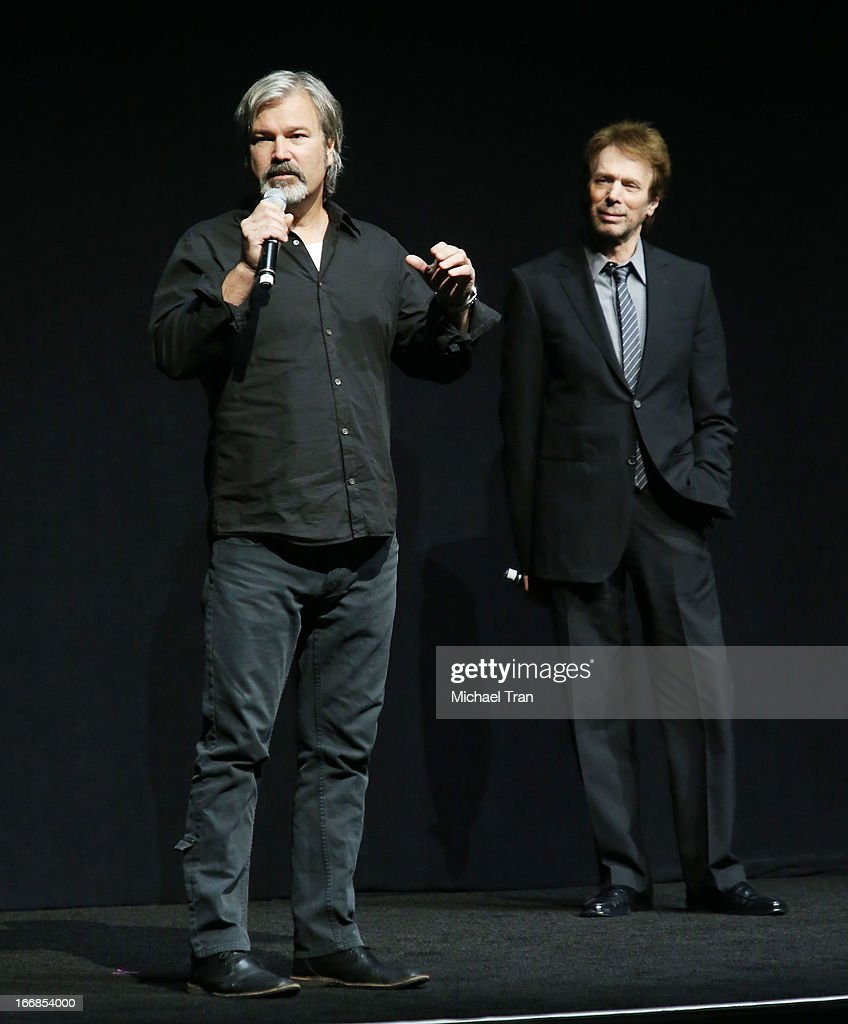 <a gi-track='captionPersonalityLinkClicked' href=/galleries/search?phrase=Gore+Verbinski&family=editorial&specificpeople=538751 ng-click='$event.stopPropagation()'>Gore Verbinski</a> (L) and <a gi-track='captionPersonalityLinkClicked' href=/galleries/search?phrase=Jerry+Bruckheimer&family=editorial&specificpeople=203316 ng-click='$event.stopPropagation()'>Jerry Bruckheimer</a> appear at a Walt Disney Studios Motion Pictures presentation to promote the upcoming film 'The Lone Ranger' held at The Colosseum at Caesars Palace during CinemaCon, the official convention of the National Association of Theatre Owners on April 17, 2013 in Las Vegas, Nevada.