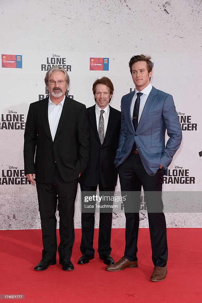 Gore Verbinski Jerry Bruckheimer and Armie Hammer attend the premiere of 'Lone Ranger' at Sony Centre on July 19 2013 in Berlin Germany
