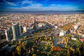 Majestic wide aerial drone urban shot of Sofia city downtown. National Palace of Culture (NDK). The shot was taken near sunset with DJI Phantom 4 Pro drone / quadcopter.
