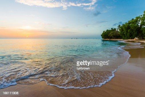 Gorgeous Sunset on a Barbados Beach : Stock Photo