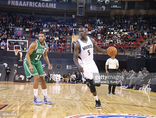 Gorgui Dieng of Team Africa dribbles during the NBA Africa Game 2015 as part of Basketball Without Borders on August 1 2015 at the Ellis Park Arena...