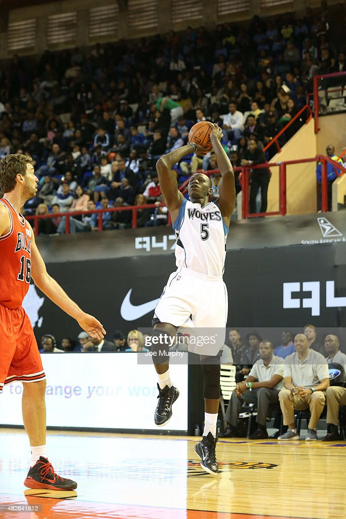 Gorgui Dieng #5 of Team Africa shoots against Team World during the NBA Africa Game 2015 as part of Basketball Without Boarders on August 1, 2015 at Ellis Park Arena in Johannesburg, South Africa.