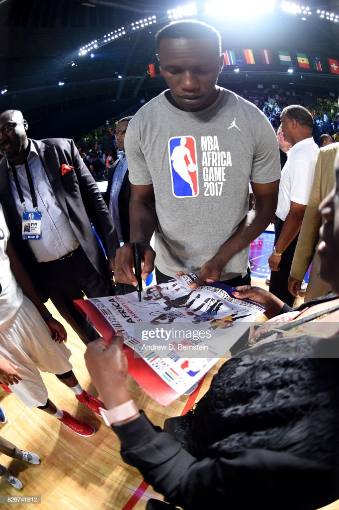 Gorgui Dieng #5 of Team Africa signs autographs after the game against Team World in the 2017 Africa Game as part of the Basketball Without Borders Africa at the Ticketpro Dome on August 5, 2017 in Gauteng province of Johannesburg, South Africa.