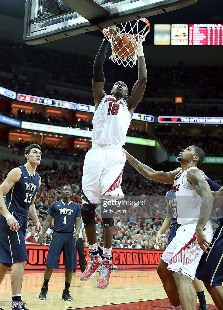 Gorgui Dieng #10 of the Louisville Cardinals dunks the ball during the game against the Pittsburgh Panthers at KFC YUM! Center on January 28, 2013 in Louisville, Kentucky.