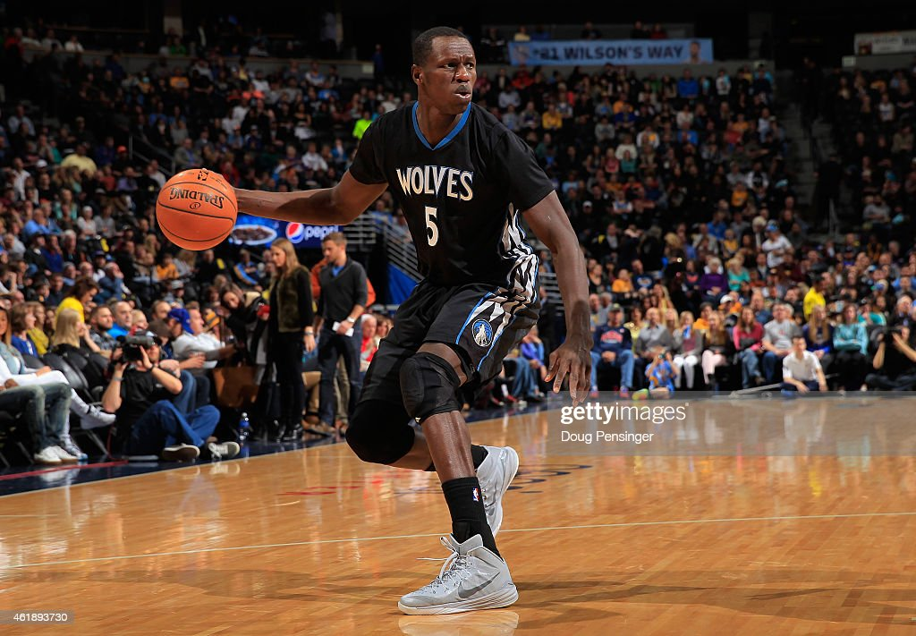 <a gi-track='captionPersonalityLinkClicked' href=/galleries/search?phrase=Gorgui+Dieng&family=editorial&specificpeople=7363274 ng-click='$event.stopPropagation()'>Gorgui Dieng</a> #5 of the Minnesota Timberwolves controls the ball against the Denver Nuggets at Pepsi Center on January 17, 2015 in Denver, Colorado. The Timberwolves defeated the Nuggets 113-105.