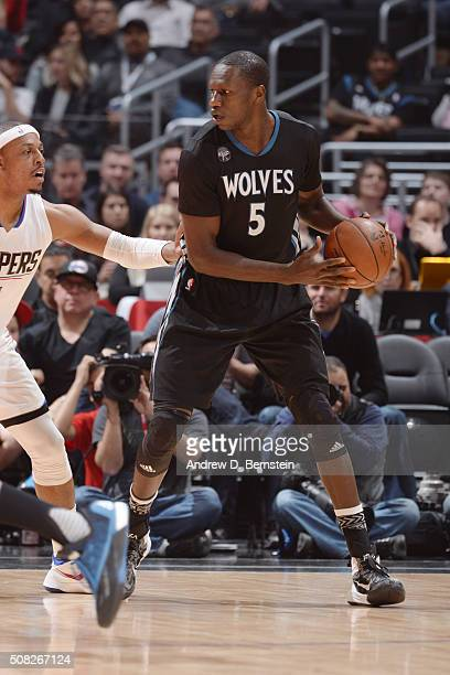 Gorgui Dieng of the Minnesota Timberwolves defends the ball against the Los Angeles Clippers during the game on February 3 2016 at STAPLES Center in...