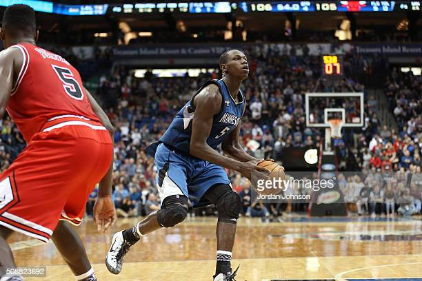Gorgui Dieng of the Minnesota Timberwolves drives to the basket during the game against the Chicago Bulls on February 6 2016 at Target Center in...