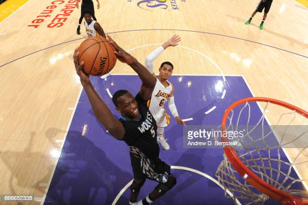 Gorgui Dieng of the Minnesota Timberwolves dunks against the Los Angeles Lakers on April 9 2017 at STAPLES Center in Los Angeles California NOTE TO...