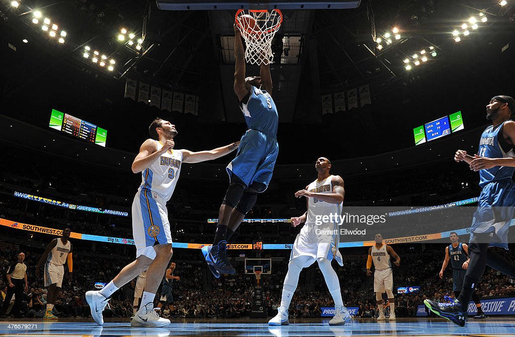 <a gi-track='captionPersonalityLinkClicked' href=/galleries/search?phrase=Gorgui+Dieng&family=editorial&specificpeople=7363274 ng-click='$event.stopPropagation()'>Gorgui Dieng</a> #5 of the Minnesota Timberwolves dunks during a game against the Denver Nuggets on March 3, 2014 at the Pepsi Center in Denver, Colorado.