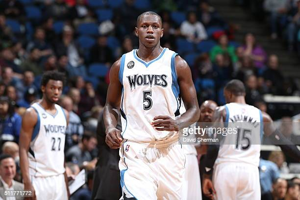 Gorgui Dieng of the Minnesota Timberwolves during the game against the Boston Celtics on February 22 2016 at Target Center in Minneapolis Minnesota...