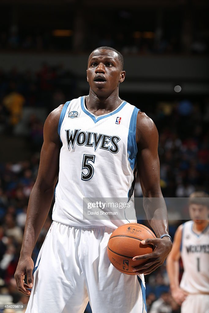 <a gi-track='captionPersonalityLinkClicked' href=/galleries/search?phrase=Gorgui+Dieng&family=editorial&specificpeople=7363274 ng-click='$event.stopPropagation()'>Gorgui Dieng</a> #5 of the Minnesota Timberwolves gets ready to shoot a foul shot against the Miami Heat during the game on December 7, 2013 at Target Center in Minneapolis, Minnesota.