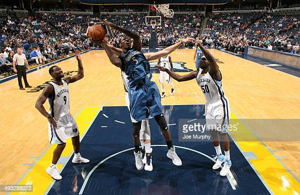 Gorgui Dieng of the Minnesota Timberwolves goes for the layup against the Memphis Grizzlies during the preseason game on October 18 2015 at...