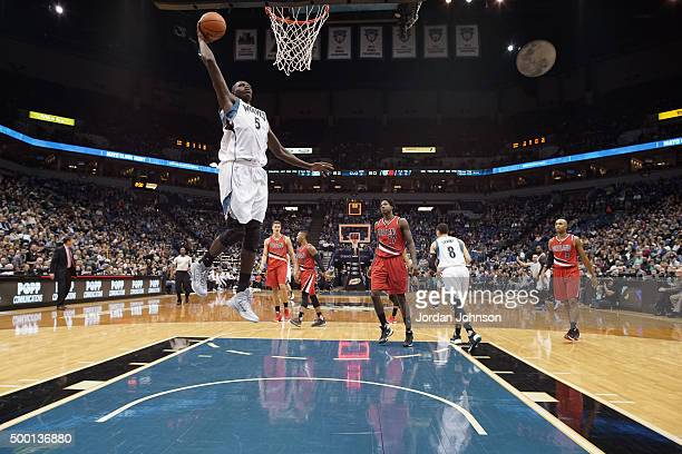 Gorgui Dieng of the Minnesota Timberwolves goes for the layup against the Portland Trail Blazers during the game on December 5 2015 at Target Center...