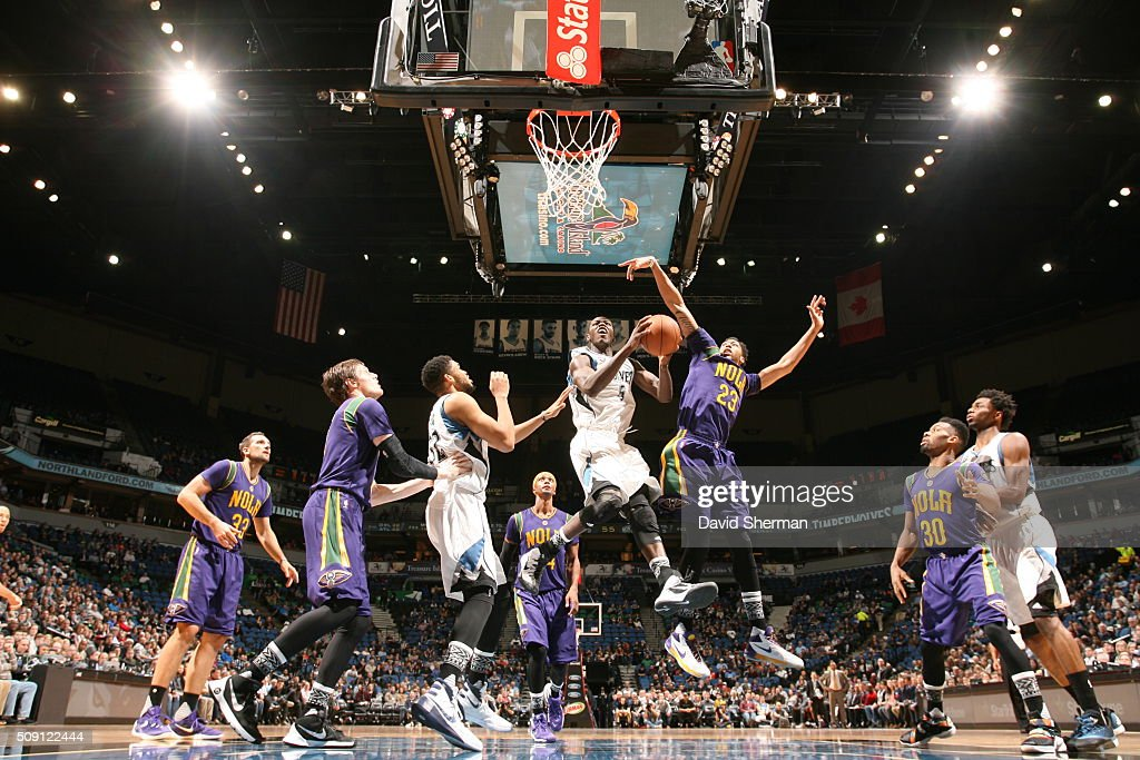 <a gi-track='captionPersonalityLinkClicked' href=/galleries/search?phrase=Gorgui+Dieng&family=editorial&specificpeople=7363274 ng-click='$event.stopPropagation()'>Gorgui Dieng</a> #5 of the Minnesota Timberwolves goes for the lay up against the New Orleans Pelicans during the game on February 8, 2016 at Target Center in Minneapolis, Minnesota.