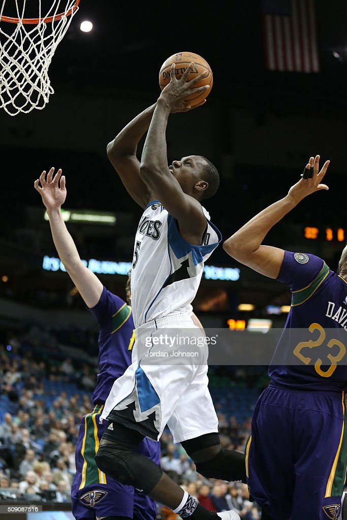 <a gi-track='captionPersonalityLinkClicked' href=/galleries/search?phrase=Gorgui+Dieng&family=editorial&specificpeople=7363274 ng-click='$event.stopPropagation()'>Gorgui Dieng</a> #5 of the Minnesota Timberwolves goes for the lay up during the game against the New Orleans Pelicans on February 8, 2016 at Target Center in Minneapolis, Minnesota.