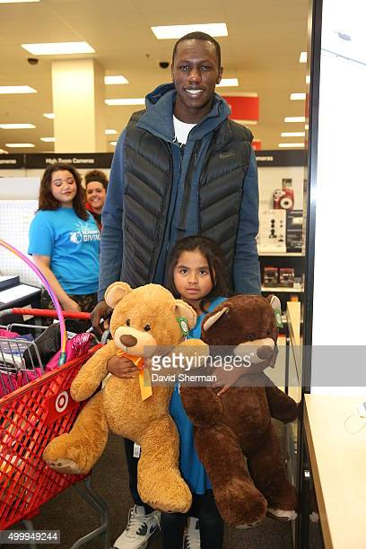 Gorgui Dieng of the Minnesota Timberwolves goes shopping for holiday gifts with kids who are up for adoption through the Minnesota Timberwolves...