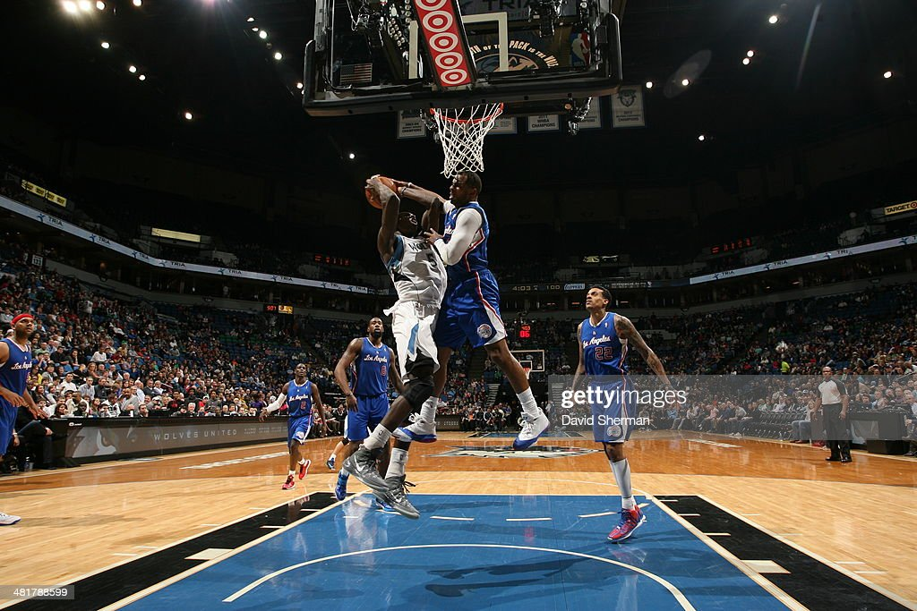 Gorgui Dieng #5 of the Minnesota Timberwolves goes to the basket against the Los Angeles Clippers on March 31, 2014 at Target Center in Minneapolis, Minnesota.