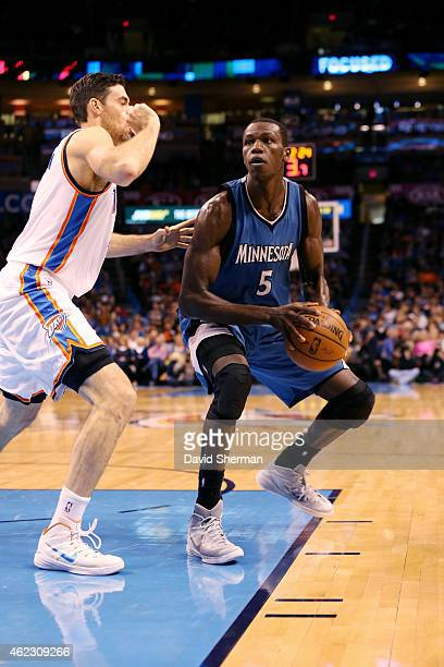 Gorgui Dieng of the Minnesota Timberwolves handles the ball against the Oklahoma City Thunder on January 26 2015 at Chesapeake Energy Arena in...