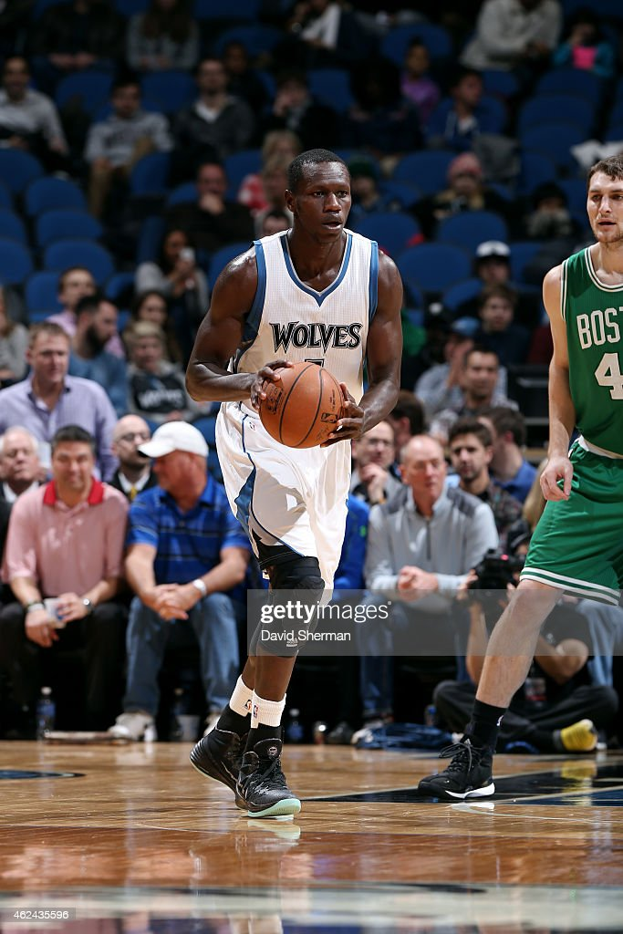 <a gi-track='captionPersonalityLinkClicked' href=/galleries/search?phrase=Gorgui+Dieng&family=editorial&specificpeople=7363274 ng-click='$event.stopPropagation()'>Gorgui Dieng</a> #5 of the Minnesota Timberwolves handles the ball against the Boston Celtics on January 28, 2015 at Target Center in Minneapolis, Minnesota.