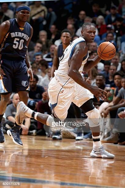 Gorgui Dieng of the Minnesota Timberwolves handles the ball against the Memphis Grizzlies on November 1 2016 at Target Center in Minneapolis...