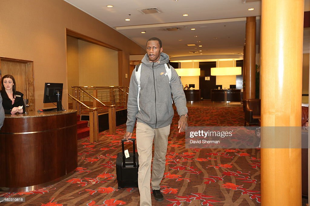 Gorgui Dieng #5 of the Minnesota Timberwolves leaves the hotel to go play a game against the Oklahoma City Thunder on January 26, 2015 at Chesapeake Energy Arena in Oklahoma City, Oklahoma.