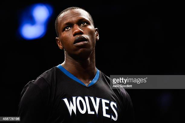 Gorgui Dieng of the Minnesota Timberwolves looks on during a game against the Brooklyn Nets at the Barclays Center on November 5 2014 in the Brooklyn...