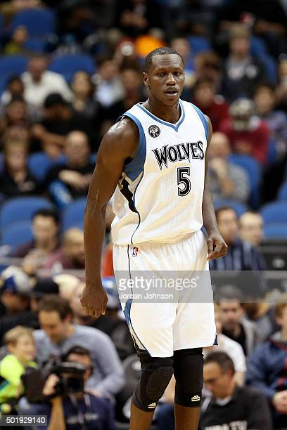 Gorgui Dieng of the Minnesota Timberwolves looks on during the game against the Sacramento Kings on December 18 2015 at Target Center in Minneapolis...