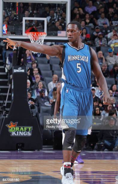 Gorgui Dieng of the Minnesota Timberwolves looks on during the game against the Sacramento Kings on February 27 2017 at Golden 1 Center in Sacramento...