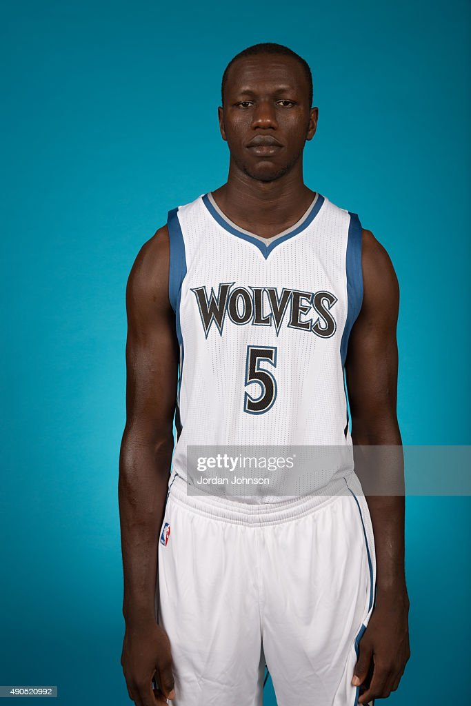 <a gi-track='captionPersonalityLinkClicked' href=/galleries/search?phrase=Gorgui+Dieng&family=editorial&specificpeople=7363274 ng-click='$event.stopPropagation()'>Gorgui Dieng</a> #5 of the Minnesota Timberwolves pose for portraits during 2015 Media Day on September 28, 2015 at Target Center in Minneapolis, Minnesota.