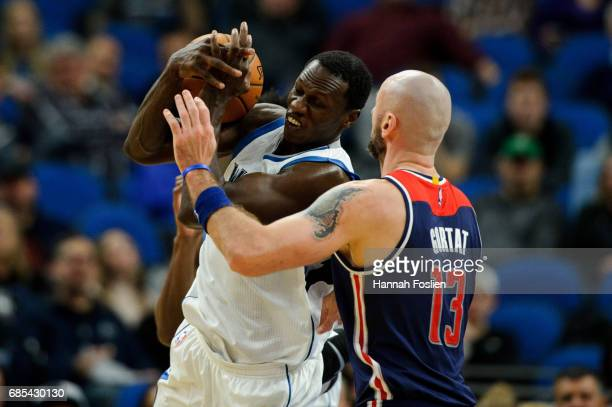 Gorgui Dieng of the Minnesota Timberwolves rebounds the ball against Marcin Gortat of the Washington Wizards during the second quarter of the game on...