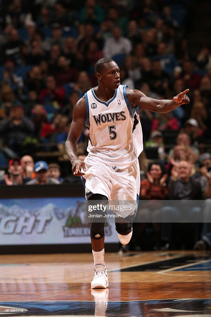 <a gi-track='captionPersonalityLinkClicked' href=/galleries/search?phrase=Gorgui+Dieng&family=editorial&specificpeople=7363274 ng-click='$event.stopPropagation()'>Gorgui Dieng</a> #5 of the Minnesota Timberwolves runs on the court during the game against the Phoenix Suns on March 23, 2014 at Target Center in Minneapolis, Minnesota.