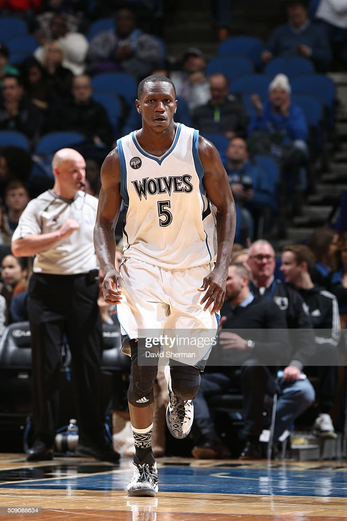 <a gi-track='captionPersonalityLinkClicked' href=/galleries/search?phrase=Gorgui+Dieng&family=editorial&specificpeople=7363274 ng-click='$event.stopPropagation()'>Gorgui Dieng</a> #5 of the Minnesota Timberwolves rus up court against the New Orleans Pelicans during the game on February 8, 2016 at Target Center in Minneapolis, Minnesota.
