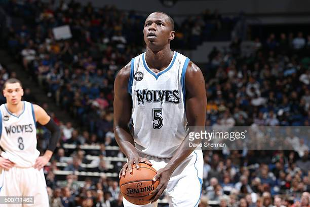 Gorgui Dieng of the Minnesota Timberwolves shoots a free throw during the game against the Los Angeles Lakers on December 9 2015 at Target Center in...