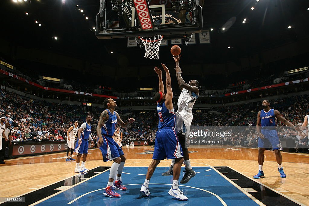 Gorgui Dieng #5 of the Minnesota Timberwolves shoots against the Los Angeles Clippers on March 31, 2014 at Target Center in Minneapolis, Minnesota.