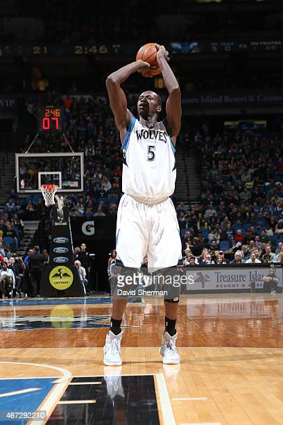 Gorgui Dieng of the Minnesota Timberwolves shoots against the Charlotte Hornets on March 22 2015 at Target Center in Minneapolis Minnesota NOTE TO...