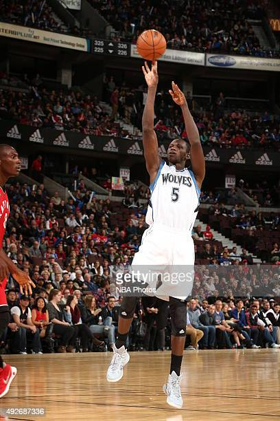 Gorgui Dieng of the Minnesota Timberwolves shoots against the Toronto Raptors at Canadian Tire Centre on October 14 2015 in Ottawa Ontario Canada...