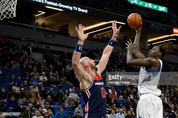 Gorgui Dieng of the Minnesota Timberwolves shoots the ball against Marcin Gortat of the Washington Wizards during the first quarter of the game on...