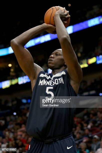 Gorgui Dieng of the Minnesota Timberwolves shoots the ball against the New Orleans Pelicans during the second half at the Smoothie King Center on...