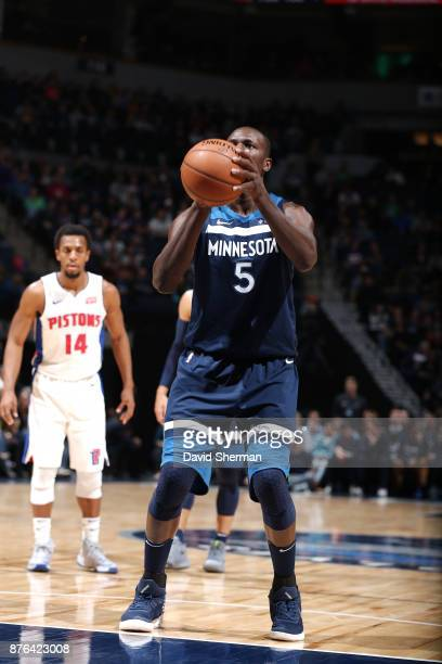Gorgui Dieng of the Minnesota Timberwolves shoots the ball against the Detroit Pistons on November 19 2017 at Target Center in Minneapolis Minnesota...