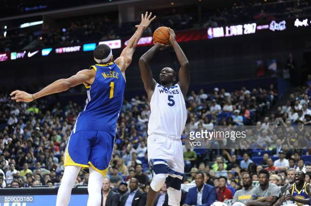 Gorgui Dieng of the Minnesota Timberwolves shoots the ball during the game against the Golden State Warriors as part of 2017 NBA Global Games China...