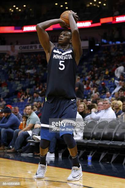 Gorgui Dieng of the Minnesota Timberwolves shoots the ball during the second half of a game against the New Orleans Pelicans at the Smoothie King...