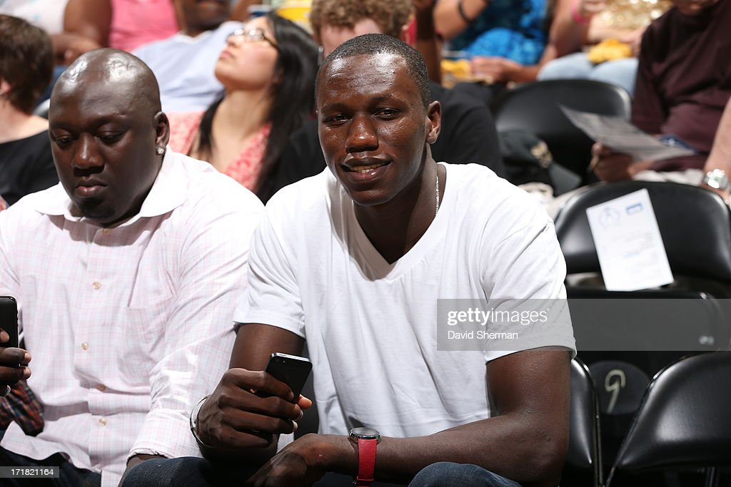 Gorgui Dieng of the Minnesota Timberwolves spotted at the Minnesota Lynx game against the Los Angeles Sparks during the WNBA game on June 28, 2013 at Target Center in Minneapolis, Minnesota.