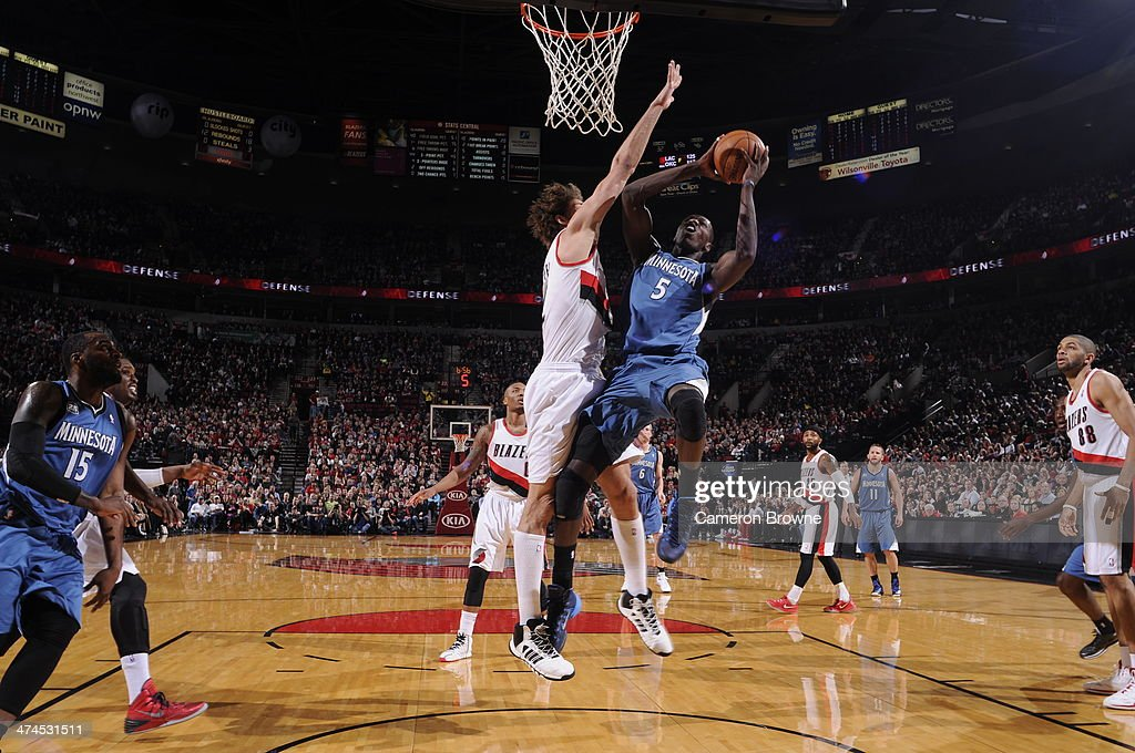 Gorgui Dieng #5 of the Minnesota Timberwolves takes a shot during a game against the Portland Trail Blazers on February 23, 2014 at the Moda Center Arena in Portland, Oregon.