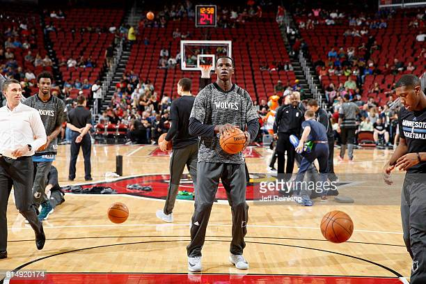 Gorgui Dieng of the Minnesota Timberwolves warms up against the Miami Heat during a preseason game on October 15 2016 at KFC Yum Center in Louisville...