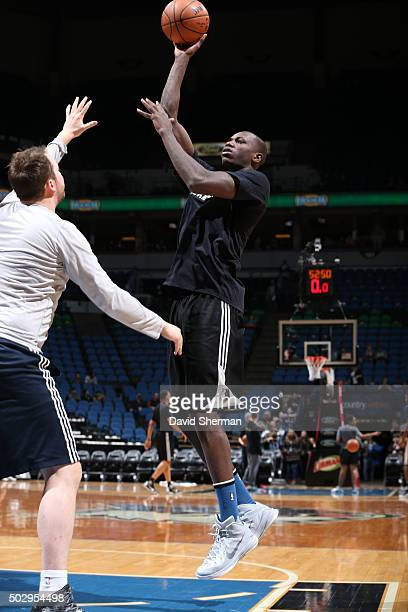 Gorgui Dieng of the Minnesota Timberwolves warms up before the game against the Utah Jazz on December 30 2015 at Target Center in Minneapolis...