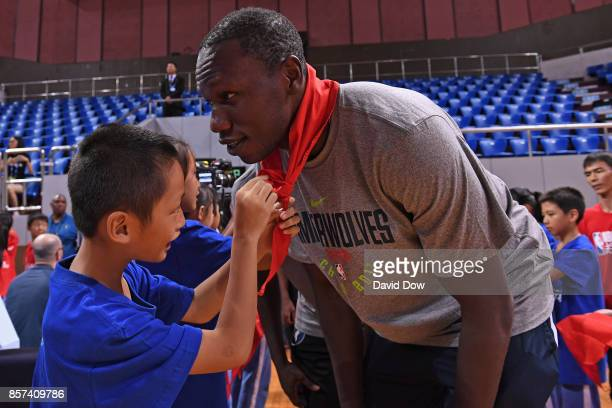 Gorgui Dieng of the Minnesota Timberwovles interacts with the kids during a NBA Cares event as part of the 2017 Global Games China on October 4 2017...