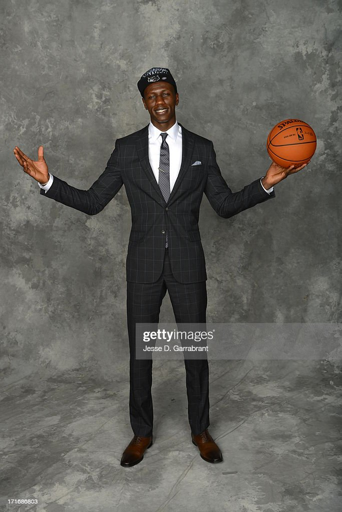 Gorgui Dieng poses for a portrait after being traded to the Minnesota Timberwolves during the 2013 NBA Draft at the Barclays Center on June 27, 2013 in Brooklyn, New York.