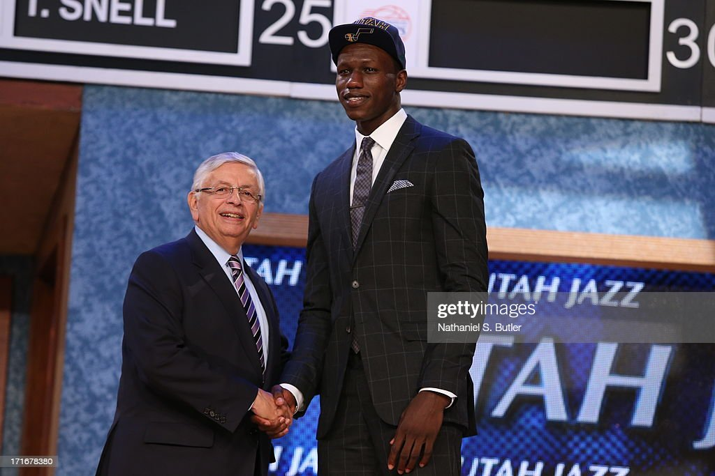 Gorgui Dieng shakes hands with NBA Commissioner, David Stern after being selected number twenty one overall by the Utah Jazz during the 2013 NBA Draft on June 27, 2013 at Barclays Center in Brooklyn, New York.