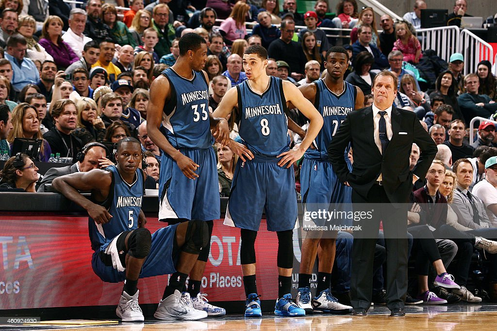 Gorgui Dieng Thaddeus Young Zach Lavine Andrew Wiggins and head coach Flip Saunders of the Minnesota Timberwolves look on in a game against the Utah...