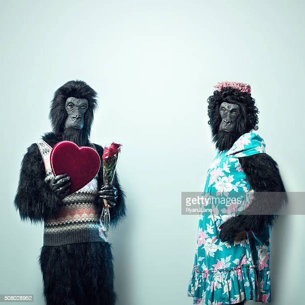 Gorilla Man Giving Valentines Day Gifts